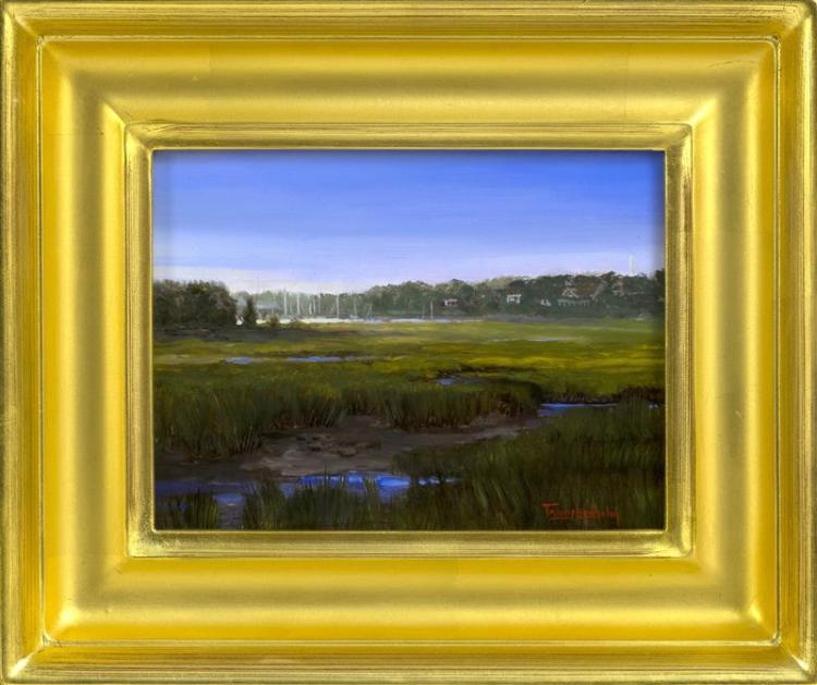 """TRACY LINDHOLM, Massachusetts, Contemporary, Sesuit Marsh., Oil on board, 6"""" x 8"""". Framed 10"""" x 12""""."""
