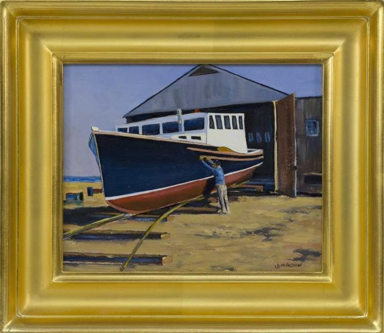 "GEORGE MACHON, Cape Cod, Contemporary, ""Fishing Vessel 'Black Mariah' Chatham, MA""., Oil on beadboard, 8"" x 10"". Framed 12.5"" x 14.25"