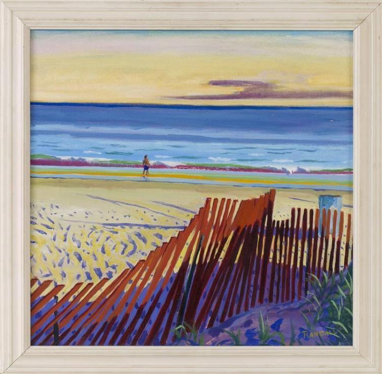 "DAVID RANDALL, South Carolina, Contemporary, ""Summer Afternoon""., Oil on board, 15"" x 15"". Framed 17"" x 17""."