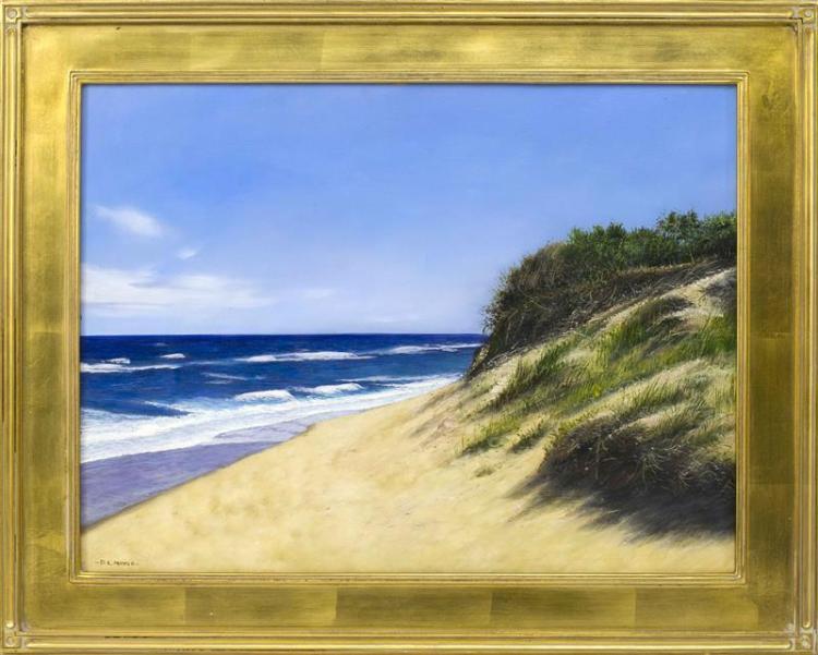 """D.L. MAYER, Cape Cod, Contemporary, """"Wellfleet""""., Oil on board, 18"""" x 24"""". Framed 23"""" x 29""""."""