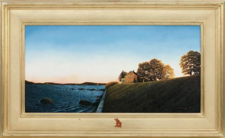 """RODERICK O'FLAHERTY, Massachusetts, Contemporary, """"I Will See You Again""""., Oil on panel, 12"""" x 24"""". Framed 18"""" x 30""""."""