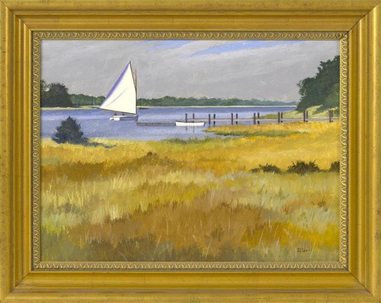 "BEN NEILL, Cape Cod, Contemporary, ""Autumn Sail""., Oil on canvas, 12"" x 16"". Framed 15.5"" x 19.5""."