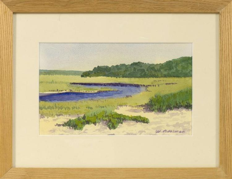 "WILLIAM J. ADELMAN, JR., American, 1928-2014, ""Little Sippewisset Marsh""., Watercolor on paper, 6.5"" x 9.5"". Framed 12"" x 15""."