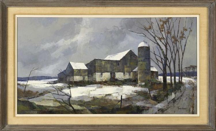 "JOHN CUTHBERT HARE, Massachusetts/Florida, 1908-1978, ""Mid Winter""., Oil on canvas, 20"" x 36"". Framed 26"" x 42""."