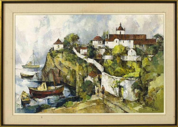 """JOHN CUTHBERT HARE, Massachusetts/Florida, 1908-1978, """"Ferragudo, Portugal""""., Oil on canvas, 20"""" x 30"""". Framed 25"""" x 35""""."""