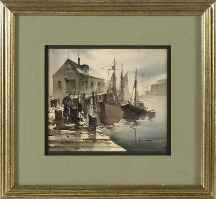 "JOHN CUTHBERT HARE, Massachusetts/Florida, 1908-1978, ""Harbor Fog""., Watercolor on paper, 7"" x 8"" sight. Framed 14"" x 15""."