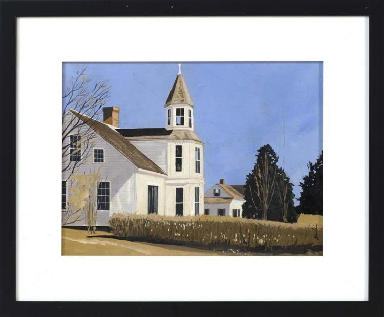 "JOHN AUSTIN, Nantucket, 1918-2000, ""White House, Chatham""., Acrylic on board, 9.25"" x 12"". Framed 14"" x 17""."