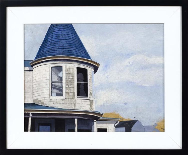 "JOHN AUSTIN, Nantucket, 1918-2000, White house with turret and blue shingled roof., Acrylic on panel, 13.5"" x 17"". Framed 18.5"" x 22..."