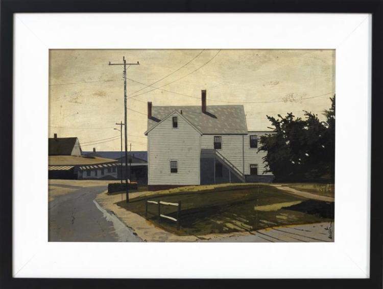 "JOHN AUSTIN, Nantucket, 1918-2000, ""Lewis Bay""., Acrylic on board, 11.5"" x 17"". Framed 16.5"" x 22""."