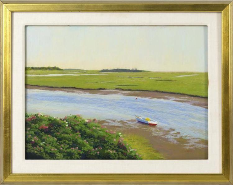 """RUTH HOGAN, Massachusetts, b. 1943, Dory, Nauset Marsh., Pastel on paper, 18"""" x 24.5"""" sight. Framed 25"""" x 31""""."""