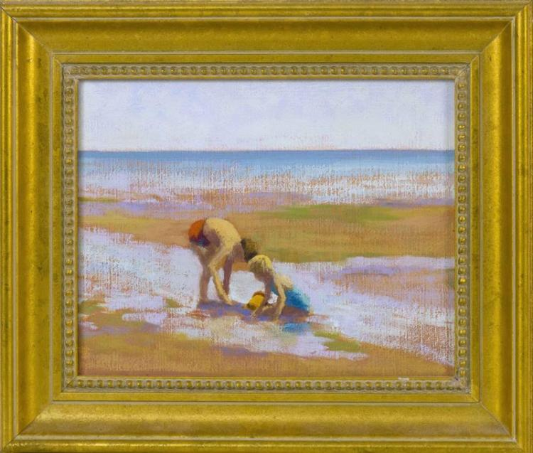 "RUTH HOGAN, Massachusetts, b. 1943, Two children on the flats., Oil on canvas, 8"" x 10"". Framed 11.5"" x 13.75""."