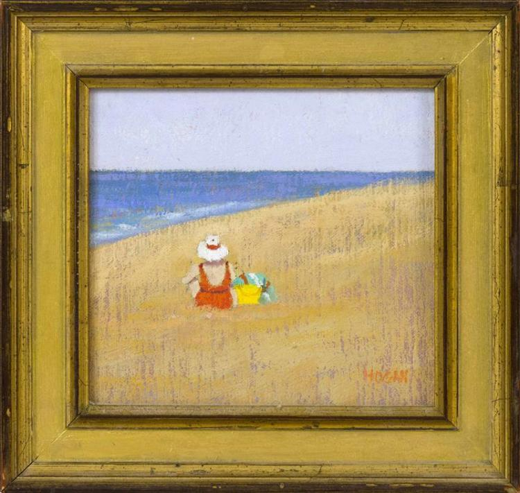 "RUTH HOGAN, Massachusetts, b. 1943, Woman wearing a white hat seated on the beach., Oil on board, 5.5"" x 5.75"". Framed 8"" x 8.5""."