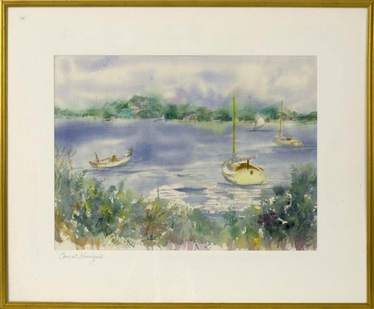 "WILLIAM ""BILL"" BOSSERT, Orleans, Massachusetts, 20th/21st Century, ""Cove at Namiquid""., Watercolor, 16"" x 21"". Framed 26"" x 31""."