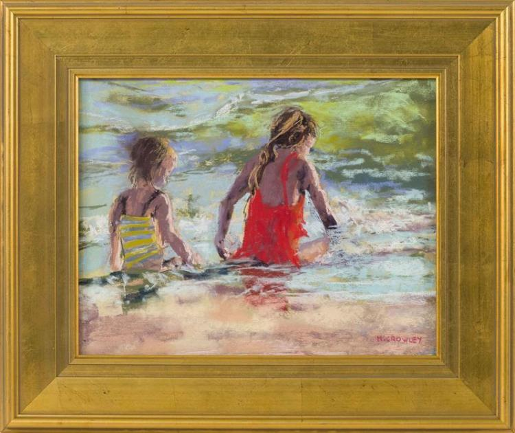 """MARIANNE CROWLEY, Cape Cod, Contemporary, """"Bathing Beauties II""""., Pastel, 10.5"""" x 13.5"""". Framed 16"""" x 20""""."""