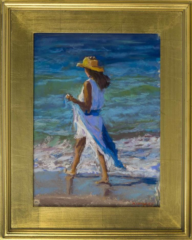 "MARIANNE CROWLEY, Cape Cod, Contemporary, ""Seaside Stroll""., Pastel on paper, 17"" x 13"". Framed 22"" x 18""."