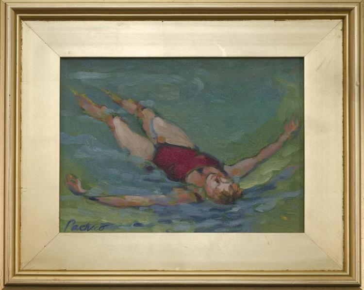 "SUZIE PACHECO, Massachusetts, Contemporary, A swim., Oil on canvas, 9"" x 12"". Framed 14"" x 17""."