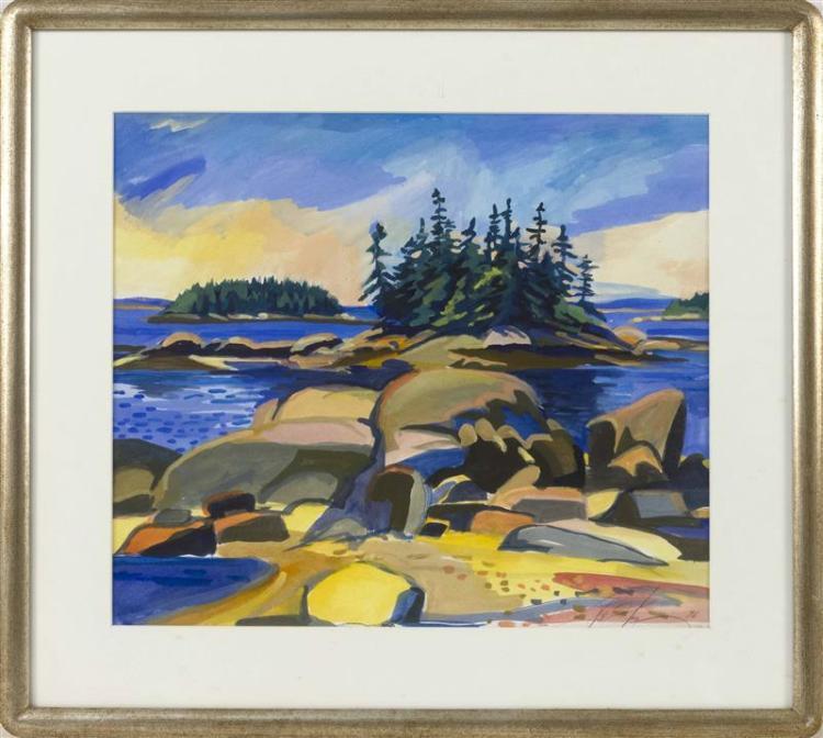 "JILL HOY, American, Contemporary, Rocky coastline, possible Maine., Watercolor, 16"" x 18"" sight. Framed 23"" x 25""."