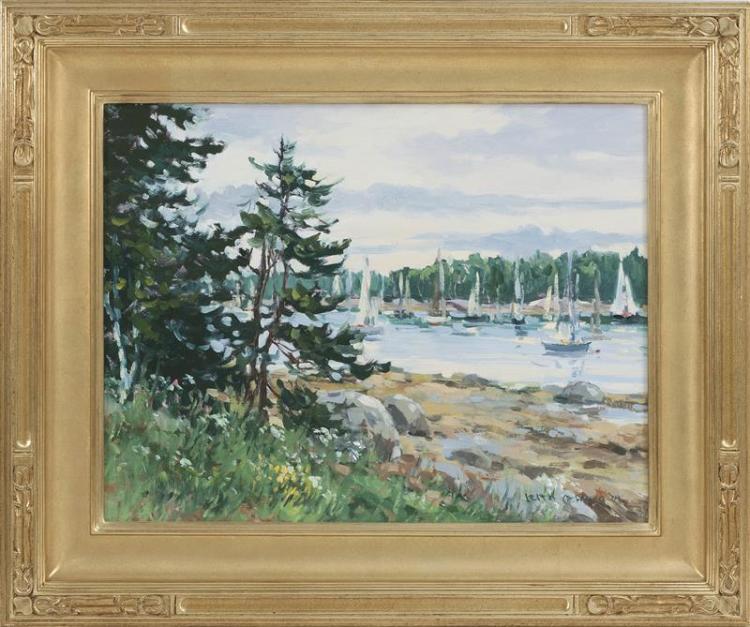 "KEITH OEHMIG, Maine, Contemporary, ""Eggemoggin Reach"" (Deer Isle, Maine)., Oil on masonite, 14"" x 18"". Framed 20"" x 24""."