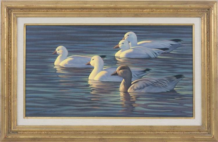 """MICHAEL ALLEN MCGUIRE, New Mexico, Contemporary, """"Evening Reflections""""., Oil on linen, 15"""" x 27"""". Framed 23"""" x 35""""."""