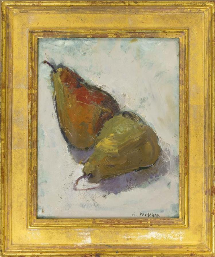 "ANNE PACKARD, Massachusetts/New Jersey, b. 1933, A pair of pears., Oil on canvas, 8"" x 10"". Framed 13.5"" x 11.5""."