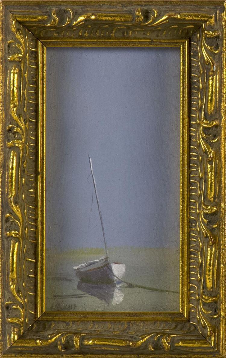 "ANNE PACKARD, Massachusetts/New Jersey, b. 1933, Beached sailboat., Oil on board, 4.5"" x 2.5"". Framed 5.5"" x 3.5""."