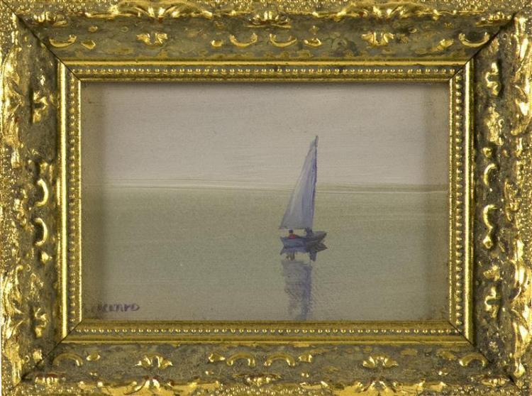 "ANNE PACKARD, Massachusetts/New Jersey, b. 1933, Boat at sea., Oil on board, 2.25"" x 3.25"". Framed 3.5"" x 4.5""."
