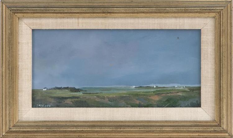 """ANNE PACKARD, Massachusetts/New Jersey, b. 1933, Corn Hill, Truro., Oil on masonite, 4"""" x 8"""". Framed 6.5"""" x 10.25""""."""