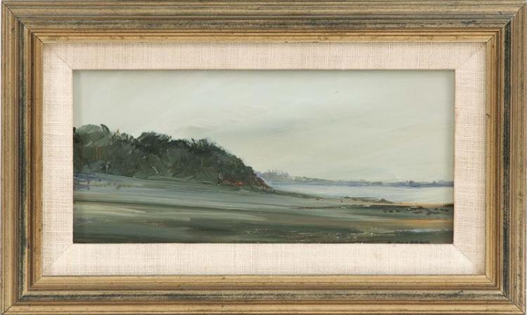 "ANNE PACKARD, Massachusetts/New Jersey, b. 1933, Truro bay-side landscape., Oil on masonite, 4"" x 8"". Framed 6.25"" x 10.25""."