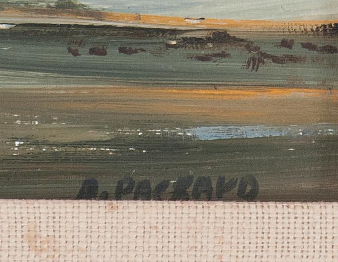 ANNE PACKARD, Massachusetts/New Jersey, b. 1933, Truro bay-side landscape., Oil on masonite, 4