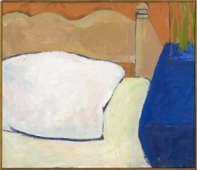 "CYNTHIA PACKARD, Massachusetts/Florida, b. 1957, Study of a bed., Oil on canvas, 24"" x 28"". Framed 25"" x 29""."