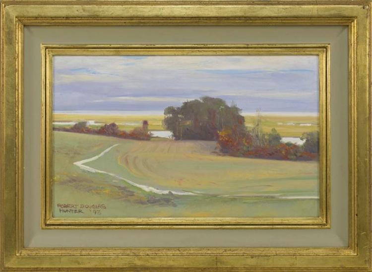"""ROBERT DOUGLAS HUNTER, Massachusetts, 1928-2014, """"Fort Hill -- Eastham""""., Oil on board, 12"""" x 20"""". Framed 19"""" x 27""""."""