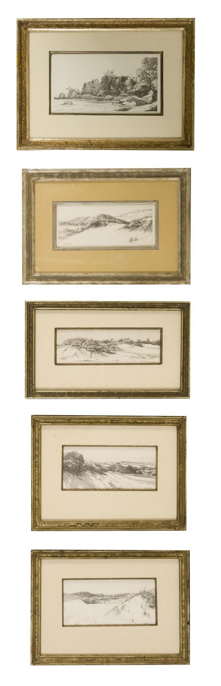 "ROBERT DOUGLAS HUNTER, Massachusetts, 1928-2014, Five pencil drawings of dune scenes., On paper, approx. 4"" x 8"" sight. Framed appro..."