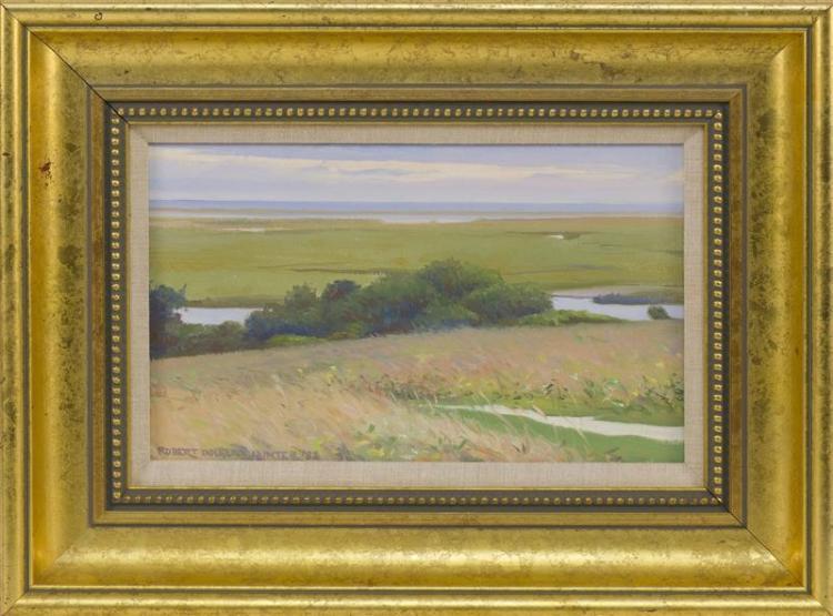 """ROBERT DOUGLAS HUNTER, Massachusetts, 1928-2014, Fort Hill, Eastham., Oil on canvas, 8"""" x 13"""". Framed 14.5"""" x 17.25""""."""