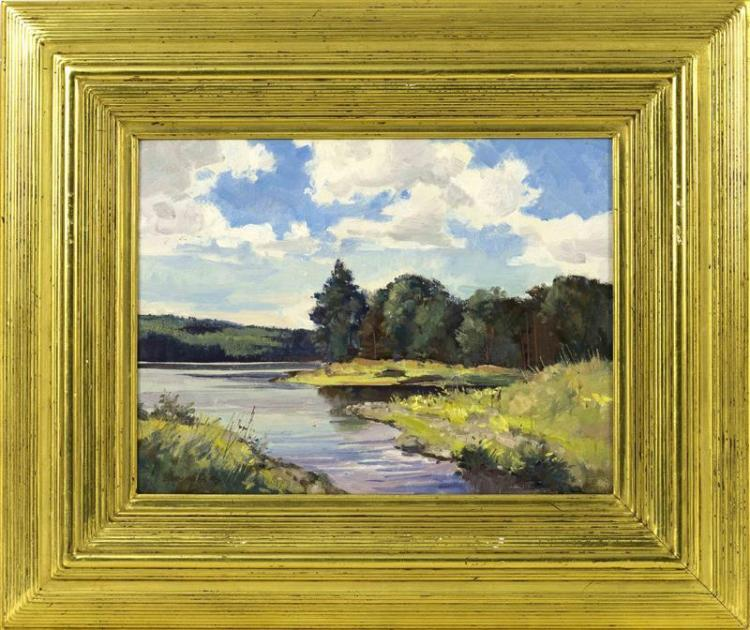 "BERNARD COREY, Massachusetts, 1914-2000, ""Quiet Lake""., Oil on panel, 9"" x 12"". Framed 15.5"" x 19""."