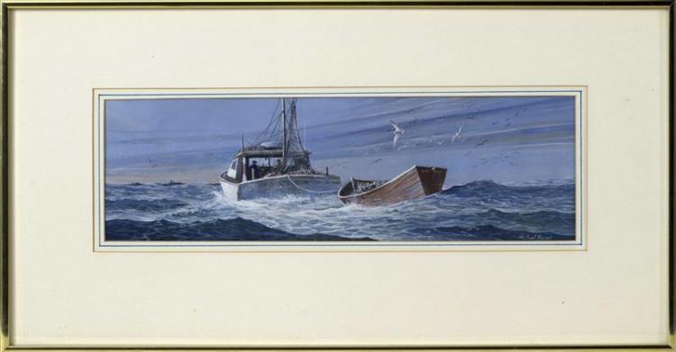 "MICHAEL B. KARAS, American, b. 1954, ""Steaming Home""., Acrylic, 6"" x 19"". Framed 14"" x 26""."