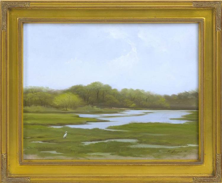 "RYAN COOPER, Cape Cod, Contemporary, ""Heron Estuary""., Oil on canvas, 11"" x 14"". Framed 14"" x 17""."