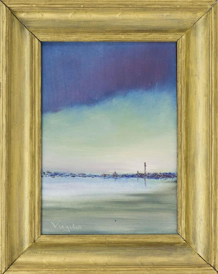"""PROVINCETOWN SCHOOL, Contemporary, The Monument from across the bay., Oil on masonite, 7"""" x 5"""". Framed 10"""" x 8""""."""