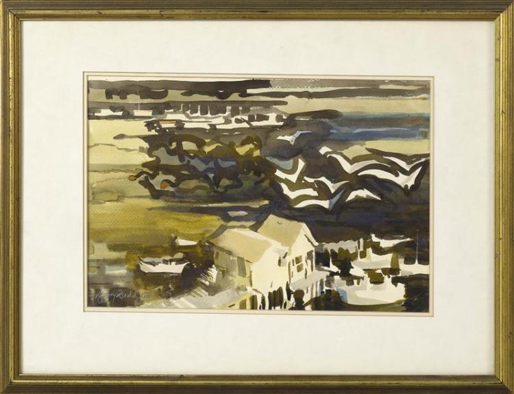 "HARVEY DODD, Massachusetts, 1933-2011, Provincetown dock., Watercolor on paper, 11.5"" x 17"". Framed 19"" x 26""."