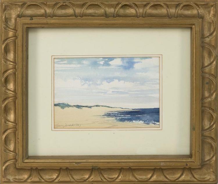 """HARVEY DODD, Massachusetts, 1933-2011, Shoreline., Watercolor on paper, 5.5"""" x 8.5"""". Framed 15"""" x 18""""."""