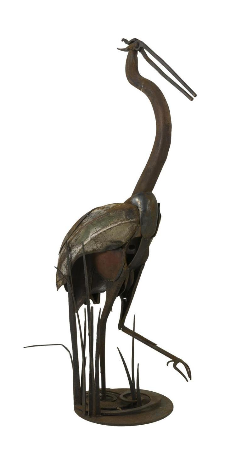 FULLER BARNES, American, Contemporary, Great blue heron standing in reeds., Metal sculpture, height 45