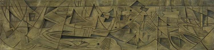 """VERNON SMITH, Massachusetts, 1894-1969, Fish abstract., Wood carving, 11.5"""" x 50""""."""