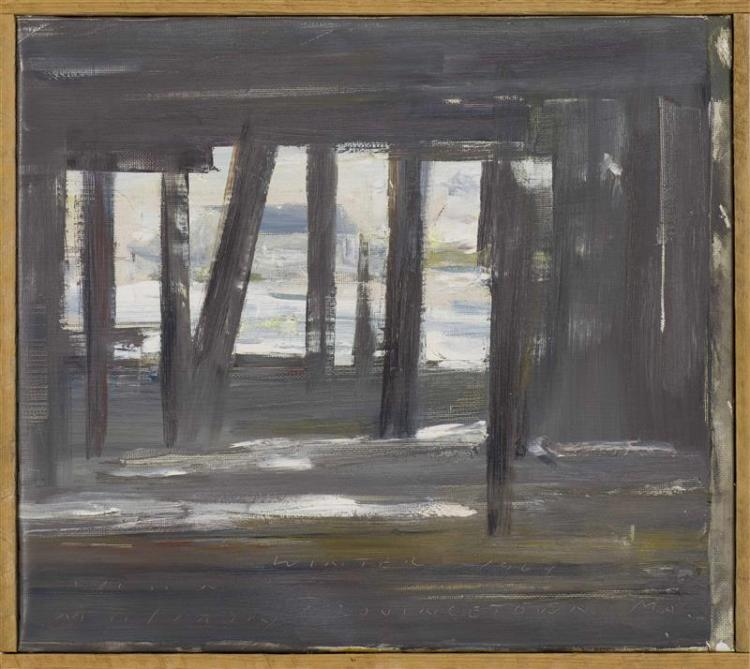 "JOHN MULCAHY, Cape Cod, 1931-2012, ""Winter 1964 Provincetown MA""., Oil on canvas, 10"" x 11.75"". Framed 10.5"" x 12.25""."