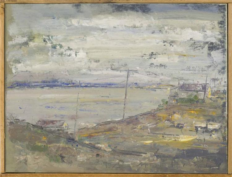 "JOHN MULCAHY, Cape Cod, 1931-2012, ""Winter Day Cold Storage Beach Area N. Truro MA""., Oil on artist panel, 14"" x 18"". Framed 14.5"" x..."