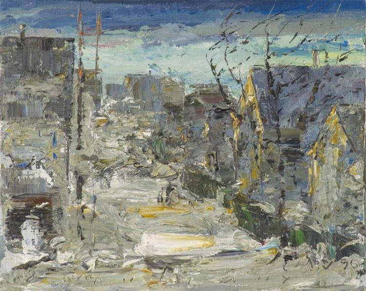 "JOHN MULCAHY, Cape Cod, 1931-2012, ""Winter Evening Provincetown""., Oil on wood panel, 8"" x 10"". Unframed."