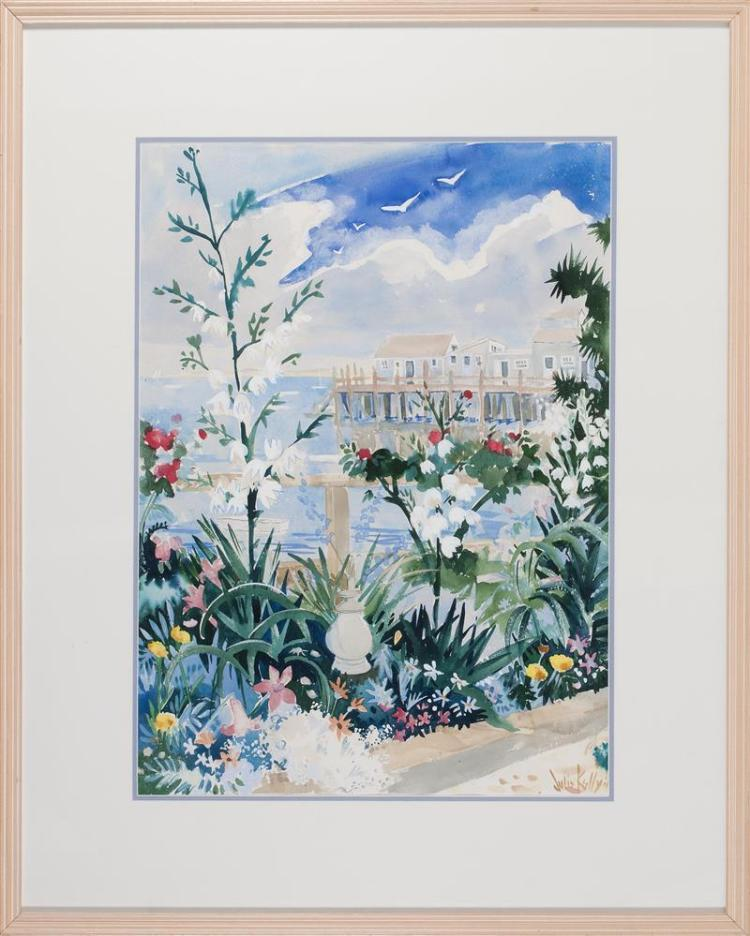 """JULIA KELLY, Cape Cod, Contemporary, Captain Jack's Wharf, Provincetown, Massachusetts., Watercolor on paper, 29"""" x 21"""" sight. Frame.."""