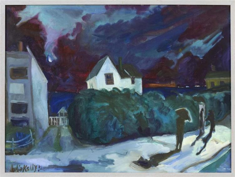 """JULIA KELLY, Cape Cod, Contemporary, Moonlit Provincetown street with figures., Oil on canvas, 24"""" x 32"""". Framed 25"""" x 33""""."""