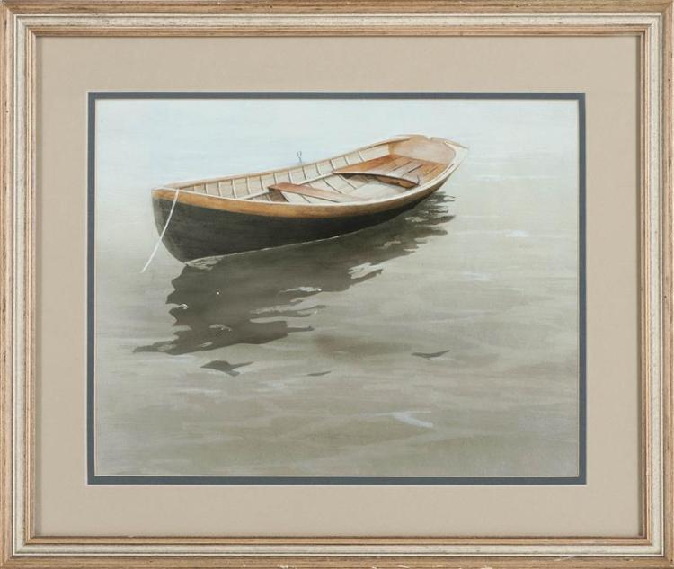 "JOSEPH CIBULA, American, b. 1946, A dory at rest., Acrylic on paper, 13.75"" x 10.75"". Framed 16.75"" x 19.5""."