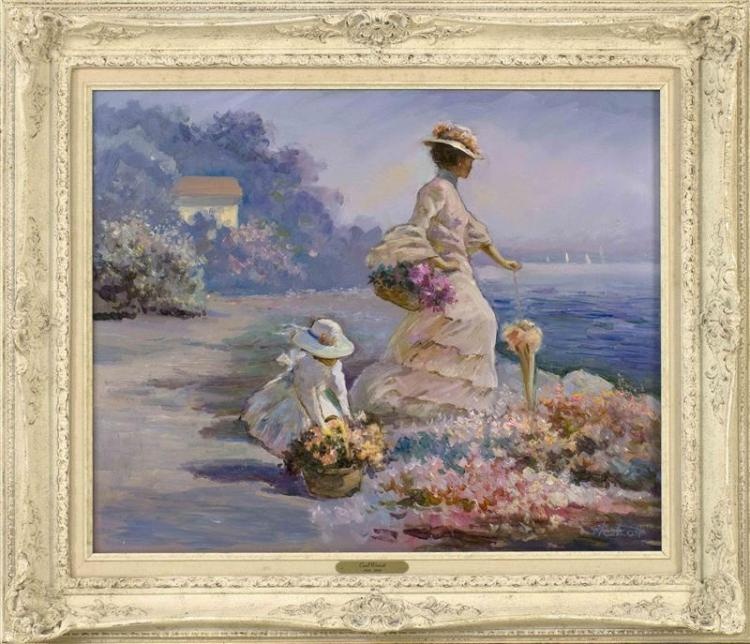"""CAROL WHORF WESTCOTT, Massachusetts, 1926-2008, Ladies by the shore., Oil on canvas, 20"""" x 24"""". Framed 27"""" x 31""""."""