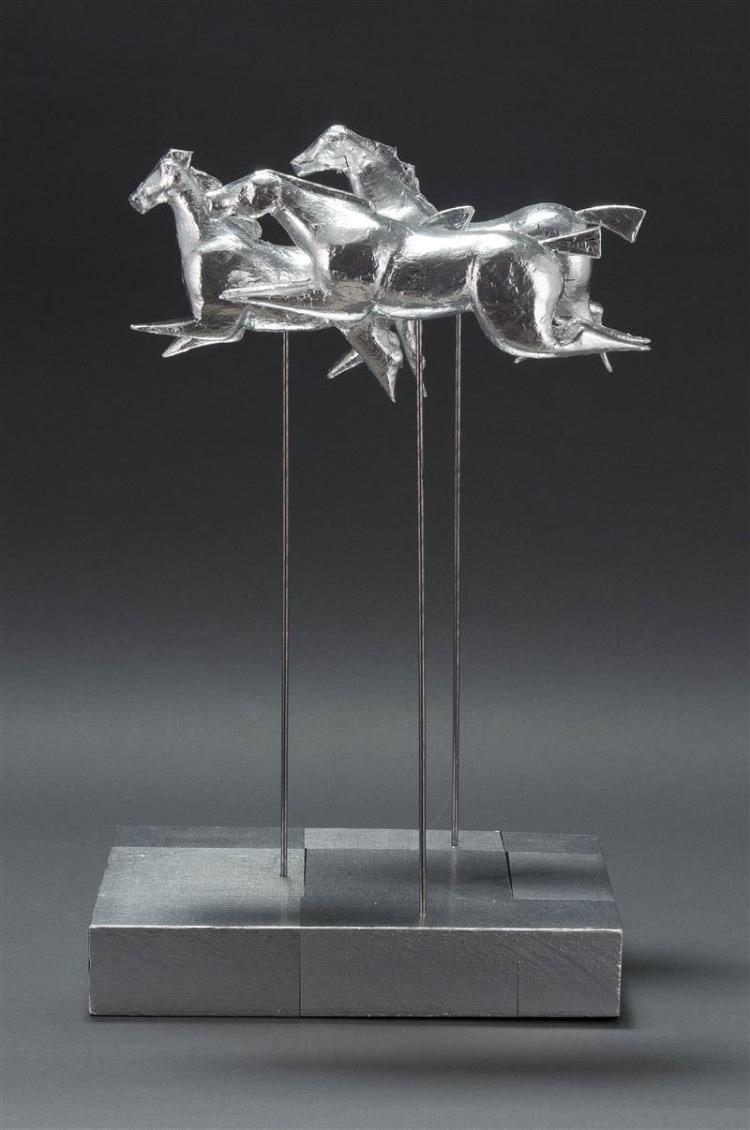 MARK KNOWLAND, Cape Cod, Contemporary, Three running horses., Sculpture, height 16