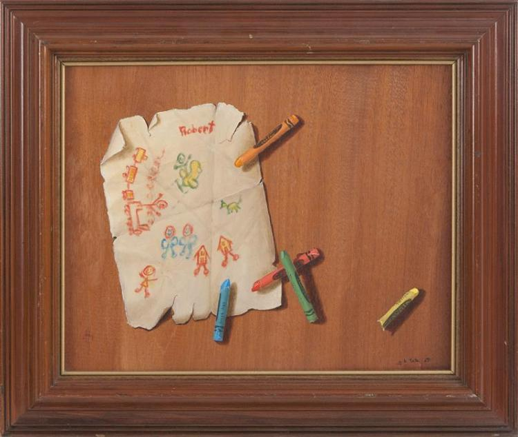 "GAYLE BLAIR TATE, Wyoming/Florida, b. 1944, Trompe l'oeil of crayons and a doodle., Oil on board, 11"" x 13.5"". Framed 16"" x 18""."